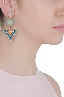 Pink and Aqua Blue Chalcedony and Japanese Beads Earrings