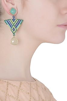 Aqua and Green Chalcedony Multi-Coloured Japanese Beads Triangle Shaped Earrings by Palette