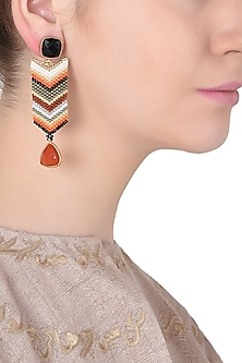 Black and Red Onyx and Multi-Coloured Japanese Beads Earrings
