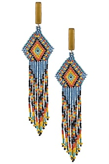 Yellow Onyx and Multi-Coloured Japanese Seed Beads Earrings by Palette