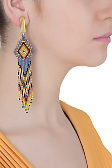 Yellow Onyx and Multi-Coloured Japanese Seed Beads Earrings