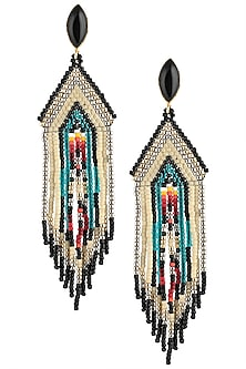 Black Onyx and Multi-Coloured Japanese Seed Beads Earrings by Palette