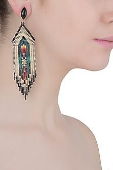 Black Onyx and Multi-Coloured Japanese Seed Beads Earrings