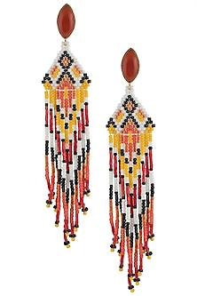 Carnelian Stone and Multi-Coloured Japanese Seed Beads Earrings by Palette