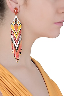 Carnelian Stone and Multi-Coloured Japanese Seed Beads Earrings
