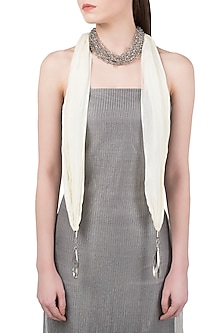 Grey and White Crystals Scarf by Born 2 Flaaunt by Abhishek & Shrruti
