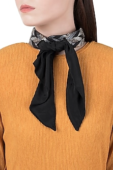 Silver Plated Beads Choker Necklace with A Cropped Black Scarf by Born 2 Flaaunt