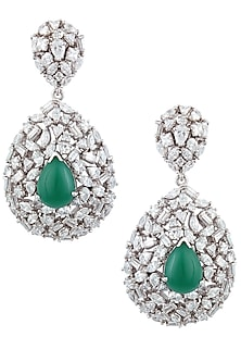 Silver Plated Swarswoki and Green Stone Tear Drop Earrings by Born 2 Flaaunt by Abhishek & Shrruti