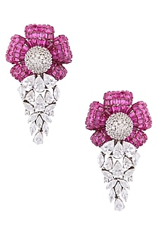 Silver Plated Red Stone and Swarovski Flower Shaped Earrings by Born 2 Flaaunt by Abhishek & Shrruti