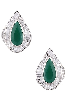 Silver Plated Swarovski and Emerald Stone Stud Earrings by Born 2 Flaaunt by Abhishek & Shrruti