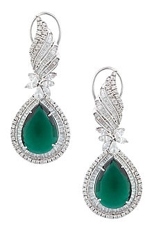 Silver Plated Swaroski and Green Color Stones Long Earrings by Born 2 Flaaunt by Abhishek & Shrruti