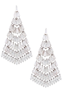 Silver Plated Swarovski Long Dangler Earrings by Born 2 Flaaunt by Abhishek & Shrruti