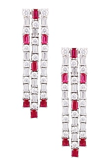 Silver Plated Swarovski and Red Color Stone Long Flexible Earrings by Born 2 Flaaunt by Abhishek & Shrruti
