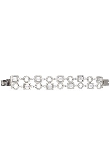 Silver Plated Swaroski Studded Bracelet by Born 2 Flaaunt by Abhishek & Shrruti