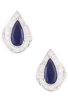 Silver Plated Swarovski and Blue Stone Stud Earrings by Born 2 Flaaunt by Abhishek & Shrruti