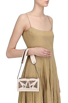 Light Nude Crystal Embellished Sling Bag