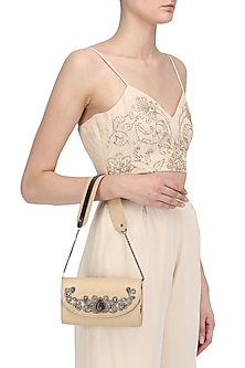 Nude Crystal Embellished Sling Bag