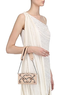 Beige Pipe Beads and Crystal Embellished Sling Bag by Born 2 Flaaunt