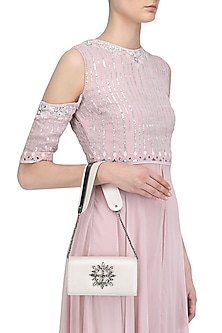 Beige Crystal Embellished Sling Bag