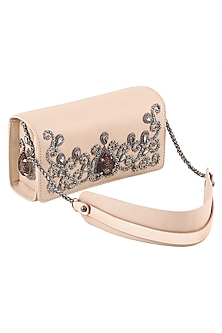 Nude Stone Embellished Sling Bag by Born 2 Flaaunt
