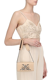 Nude Pipe Beads Embellished Sling Bag