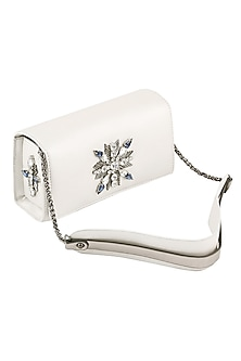 White Crystal Embellished Sling Bag by Born 2 Flaaunt