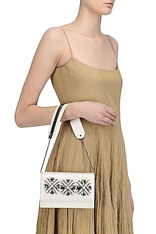 Pristine White Crystal Embellished Sling Bag