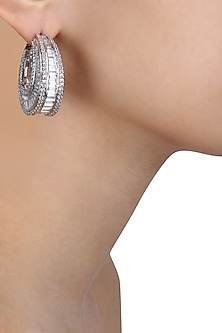 Rhodium Finish Swarovski Stone Oval Hoop Earrings