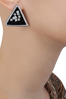 Rhodium Finish Swarovski Stone Black Base Triangle Earrings