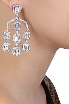 Rhodium Finish Square Shape Swarovski Stone Dangler Earrings