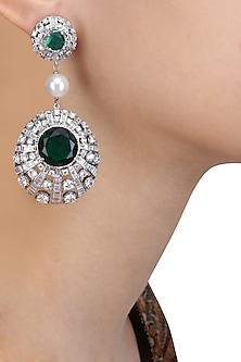 Rhodium Finish Emerald and White Swarovski Stone Earrings