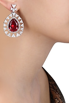 Rhodium Finish Ruby Stone and Swarovski Tear Drop Earrings