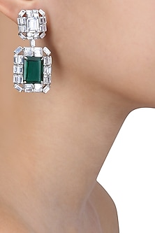 Rhodium Finish Emerald Stone and Swarovski Square Earrings