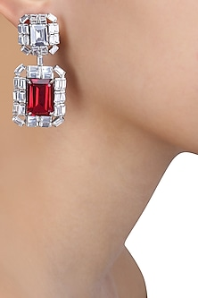 Rhodium Finish Ruby Stone and Swarovski Square Earrings
