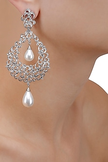 Silver Plated Double Pearl Chandelier Drop Earrings