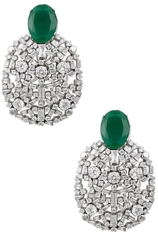 Silver Plated Crystal Cluster Earrings by Born 2 Flaaunt by Abhishek & Shrruti