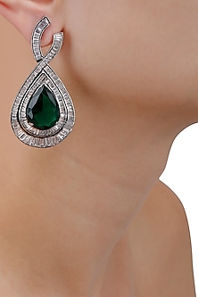 Silver Plated Emerald Crystal and Clear Zircons Tear Drop Earrings by Born 2 Flaaunt by Abhishek & Shrruti