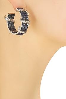 Silver plated blue stone spiral hoop earrings