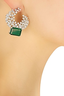 Silver plated green square stone round earrings