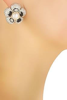 Silver plated black stone flower earrings