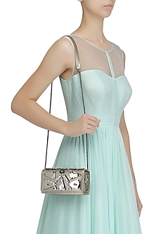 Nude Embellished Flapover Clutch