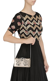Silver Floral Embellished Flapover Clutch