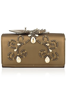 Gold Floral Embellished Flapover Clutch by Born 2 Flaaunt by Abhishek & Shrruti