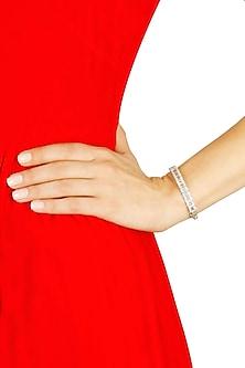 Silver plated white swaroski stud bracelet