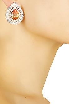 Silver plated swarovski and orange stone earrings