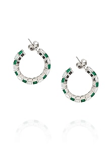Silver plated white swarovski and green stone hoop earrings by Born 2 Flaaunt by Abhishek & Shrruti