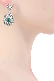 Silver plated swarovski and emerald onyx tear drop shape earrings by Born 2 Flaaunt by Abhishek & Shrruti