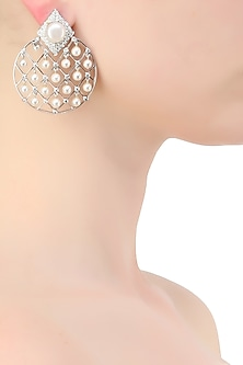 Silver plated zircons and pearl earrings by Born 2 Flaaunt by Abhishek & Shrruti