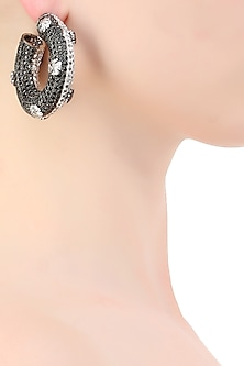 Silver plated black and white zircons half and half hoop earrings by Born 2 Flaaunt by Abhishek & Shrruti