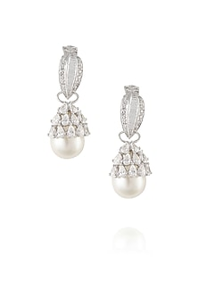 Silver plated swarovski stones with pearl hanging earrings by Born 2 Flaaunt by Abhishek & Shrruti